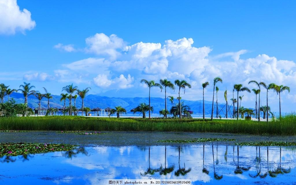 蓝天 白云 远山 湖泊 倒影 椰子树 自然风景 摄影 自然景观 风景名胜