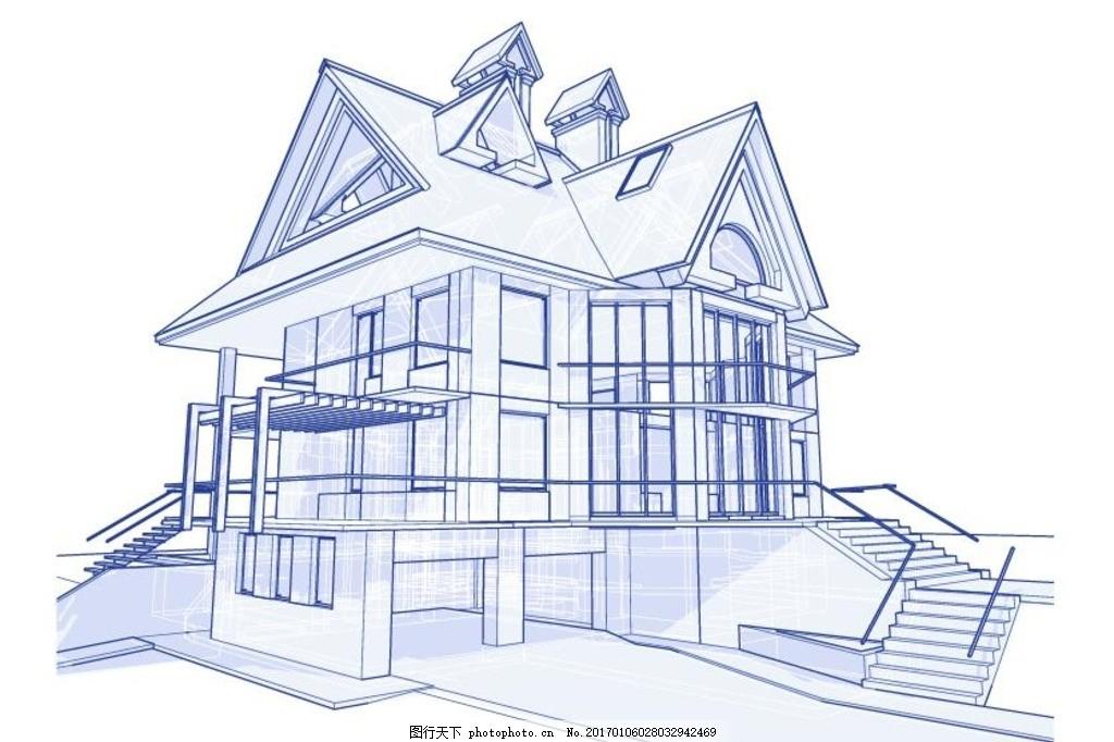 房子线条图 标志建筑 房子轮廓图 线稿 城市街景 手绘都市街景 卡通