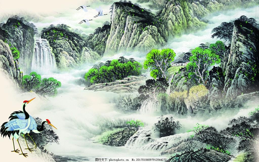 山水中式背景墙 壁纸 风景 高分辨率图片 高清大图 建筑 装饰图片