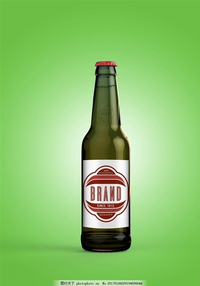 啤酒包装 啤酒瓶 玻璃瓶 瓶子 器皿 容器 调料瓶 饮料瓶 酒瓶样机
