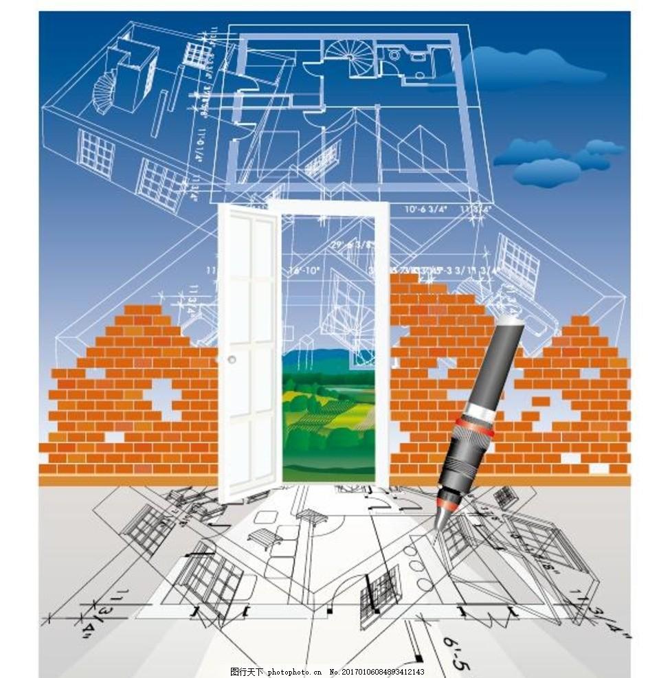手绘建筑 房子线条图 标志建筑 房子轮廓图 线稿 城市街景 手绘都市
