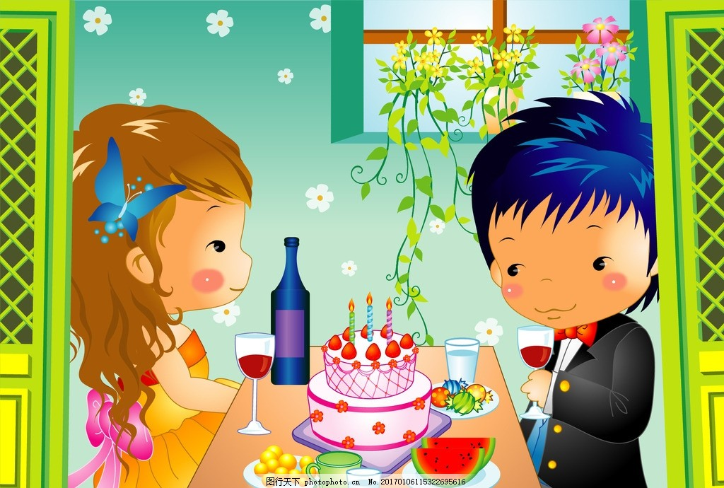 可爱卡通女孩 卡通男孩 烛光晚餐 红酒杯 红酒瓶 蛋糕 生日蛋糕 糖果