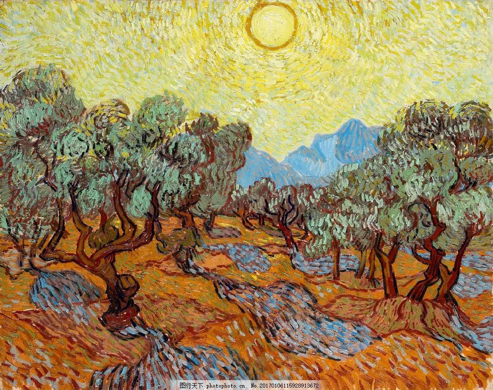梵高果园风景油画图片