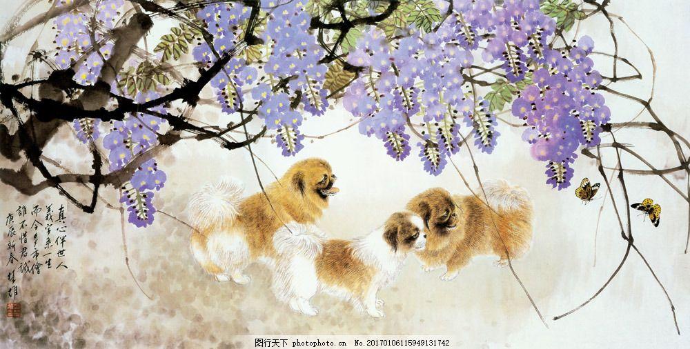 小狗与花朵插画背景 小狗与花朵插画背景图片素材 国画 油画 手绘