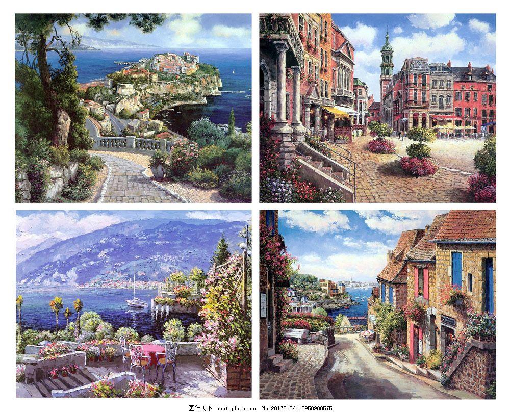 海边小镇 海边小镇图片素材 无框画 风景 山 鲜花 墙纸 壁纸