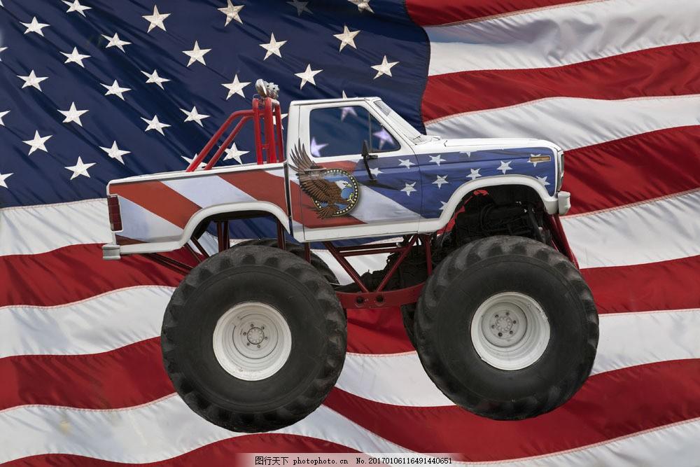 美国国旗越野车图片素材 越野车 小车 汽车 车辆 交通工具 汽车图片