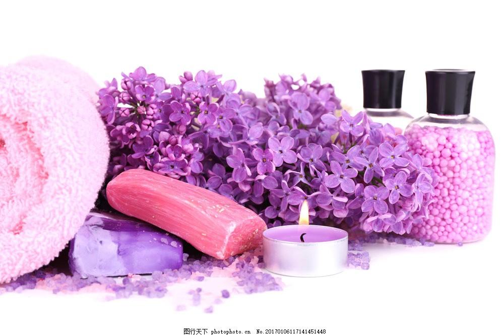 SPA广告背景 毛巾 花朵 蜡烛 香皂 美容 化妆 化妆品 化妆品摄影