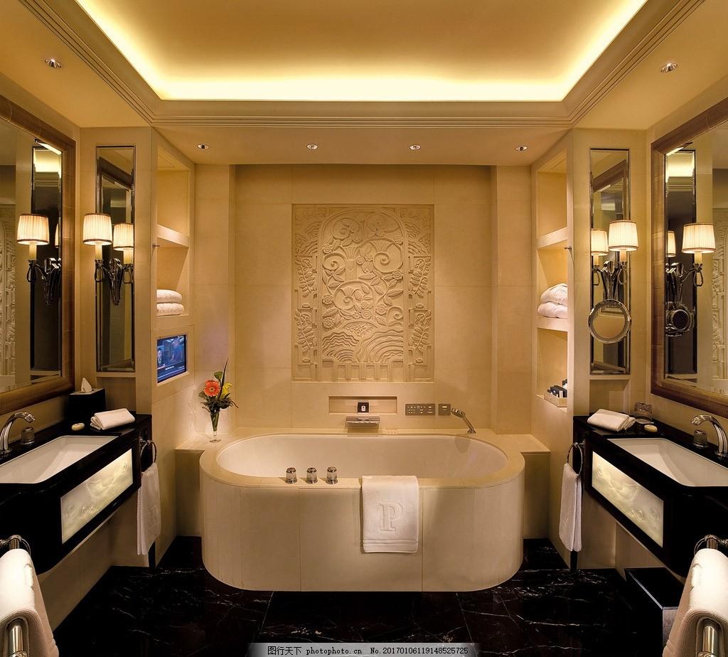 上海半岛酒店 大华套间 豪华套房 大理石浴室 化妆间 水疗浴室