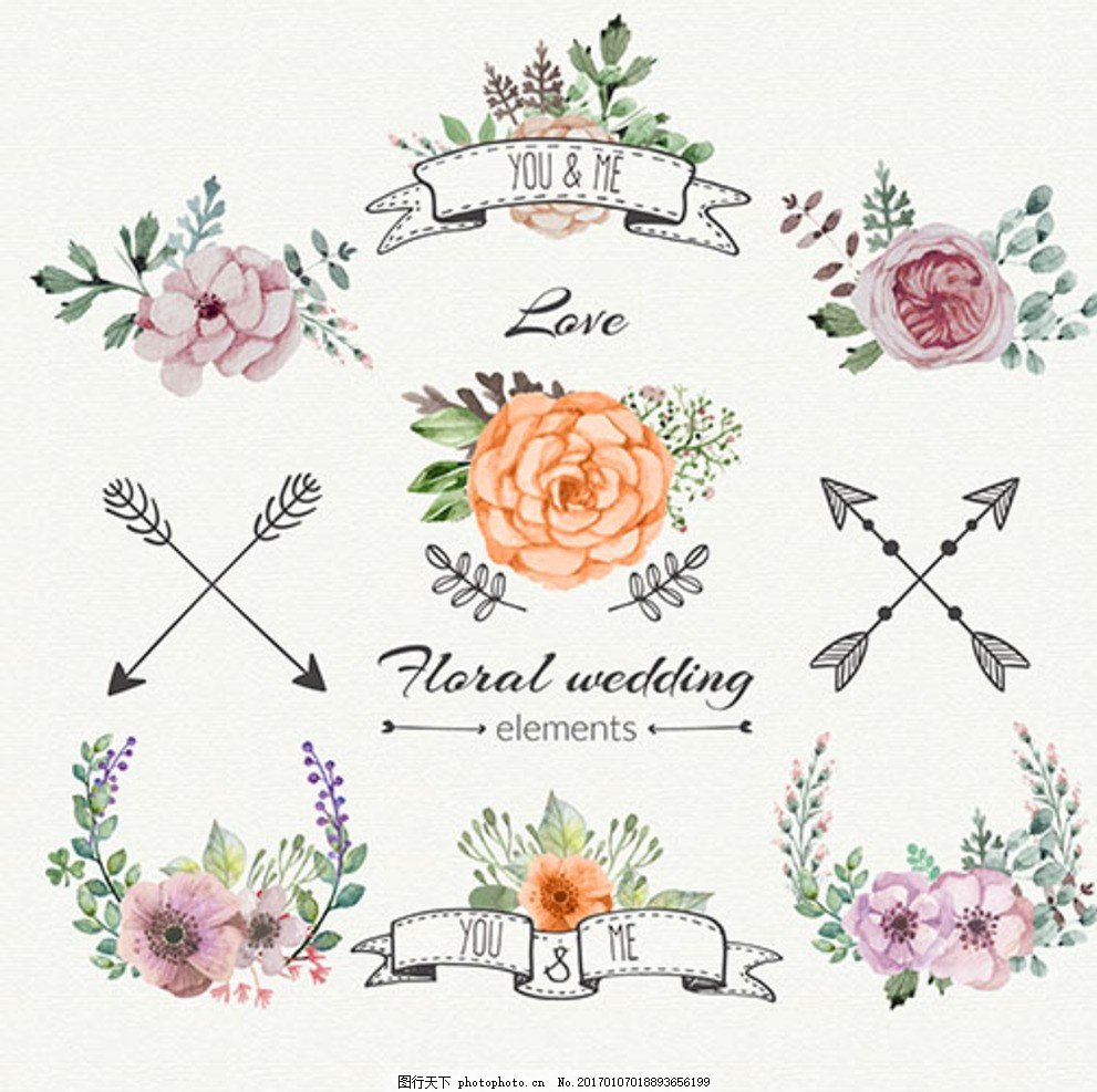 手绘水彩婚礼花卉装饰