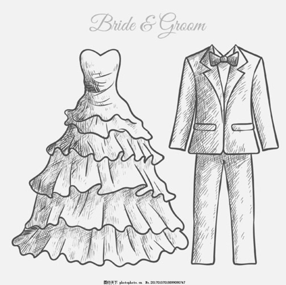 手绘新郎新娘婚纱礼服