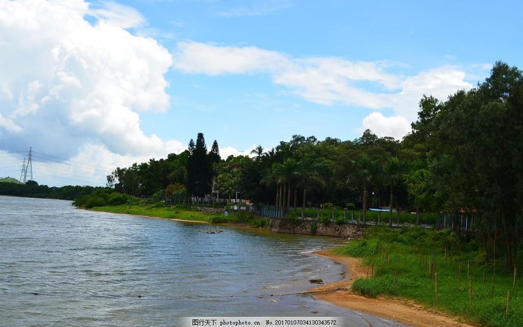 湖边风景 海边 沙滩 椰树 礁石 蓝天 白云 油画 设计 文化艺术 绘画