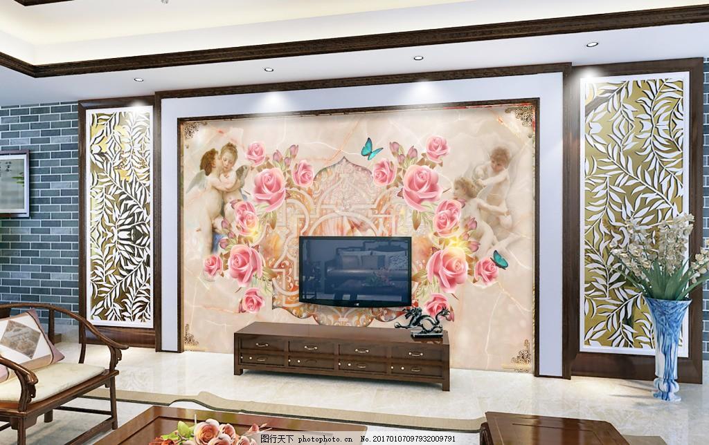 欧式岩石背景墙设计 欧式电视背景墙设计 花色水墨背景墙设计 花纹图片