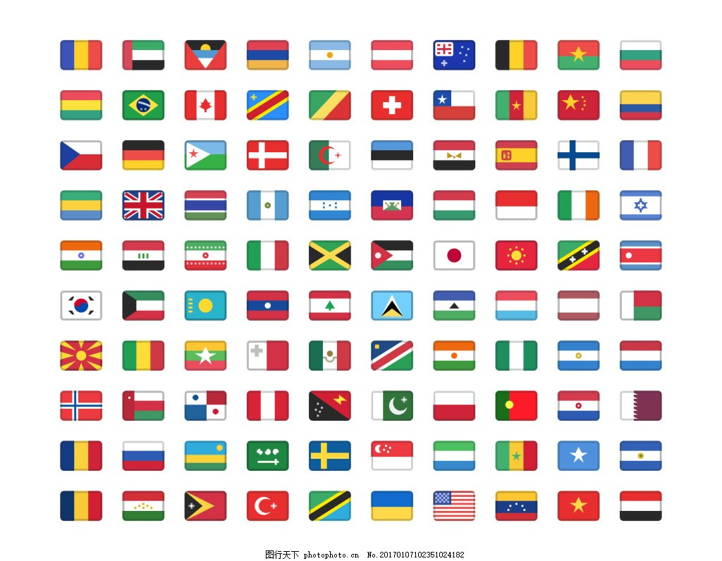 标志设置 彩色图标 创意图标 国旗图标 各国国旗 国旗标志下载