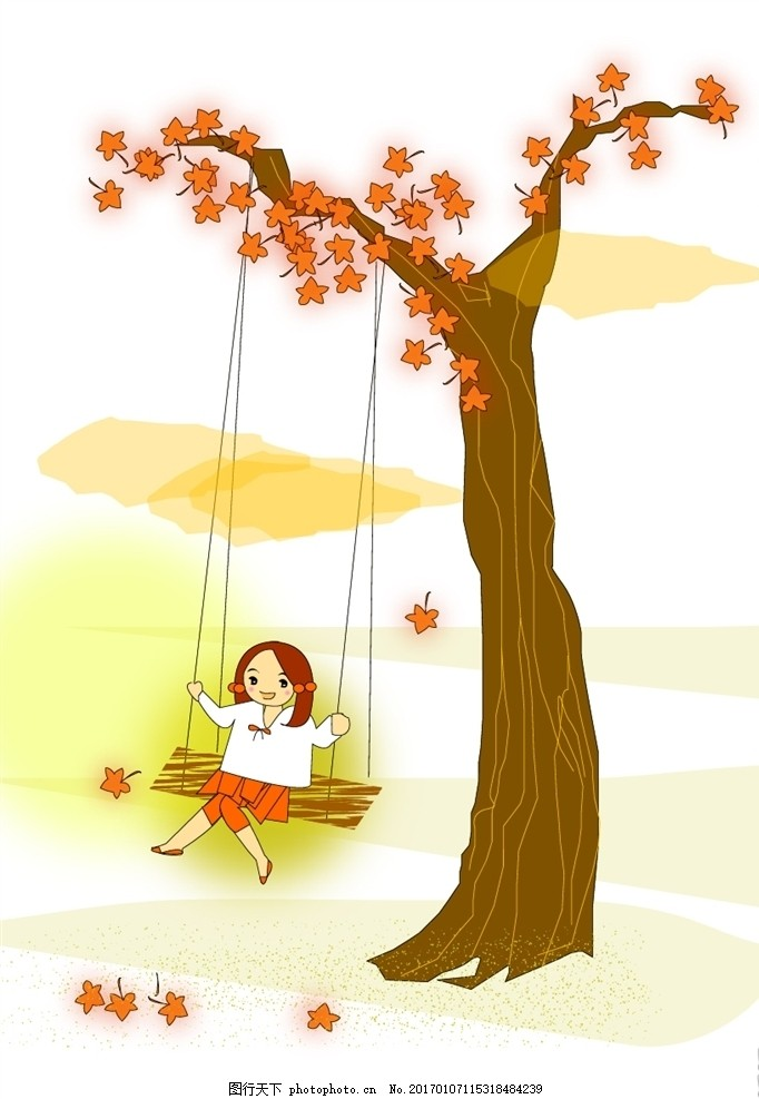 荡秋千的手绘卡通女孩 枫叶 枫树 卡通树木 儿童插画 卡通娃娃