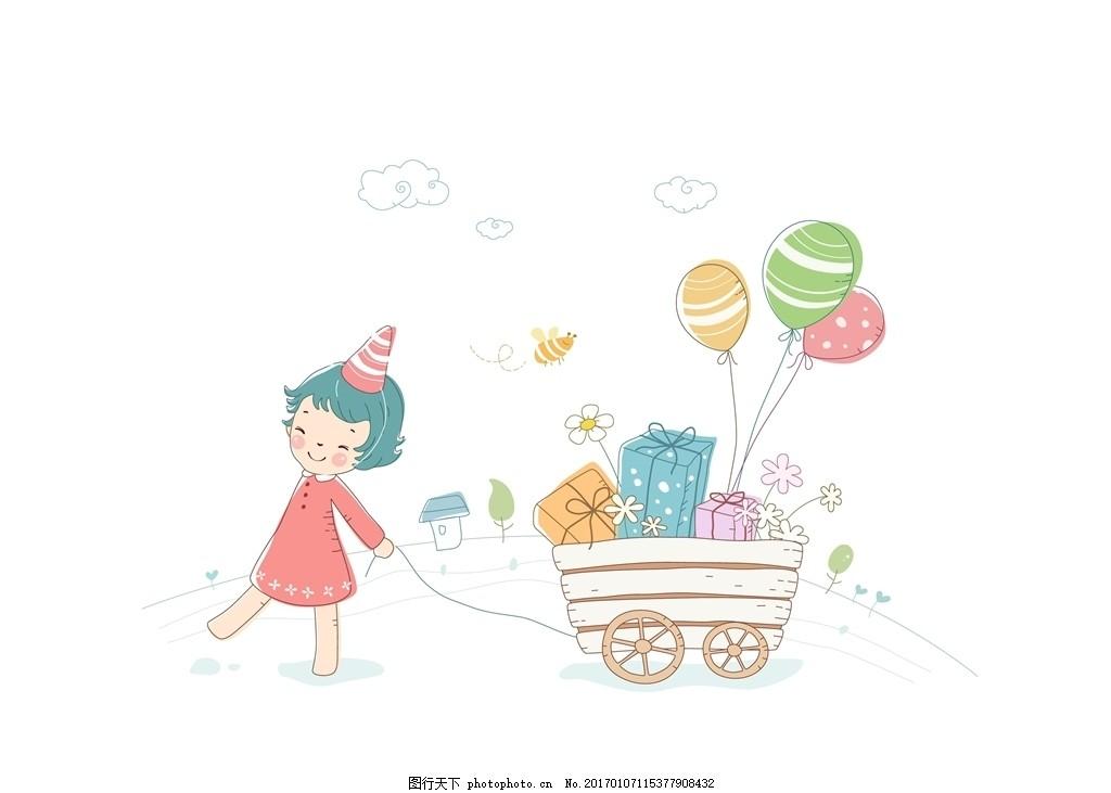 拉手推车的手绘线条女孩 手绘线条女孩 卡通女孩 手推车 礼物 气球 卡