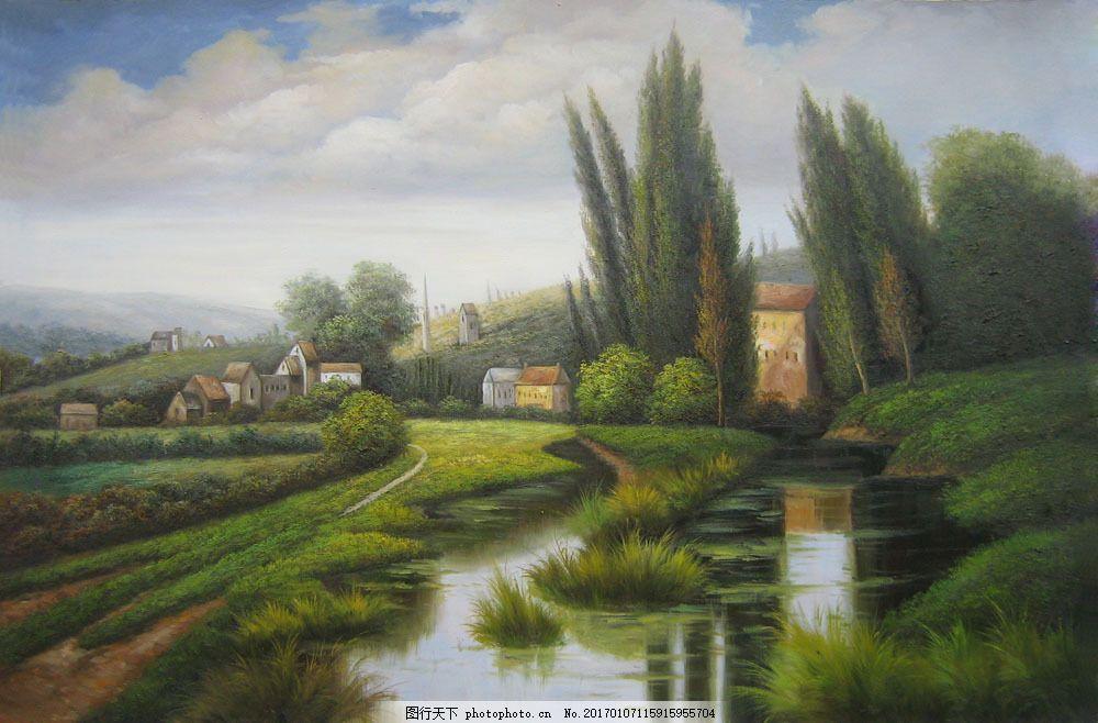 油画 油画写生 风景油画 风景写生 绘画艺术 装饰画 春天风景油画