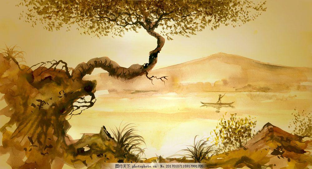 水墨画 水墨风景 绘画艺术 中国画 树木 湖水 船 美丽 自然风景 自然