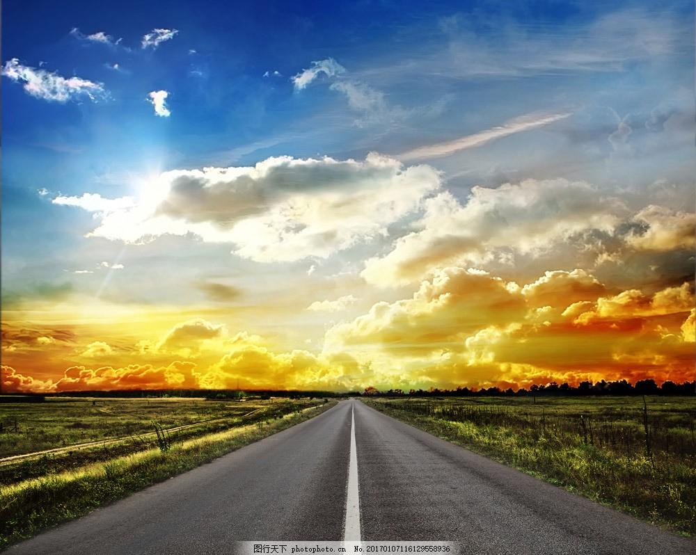 美丽公路风景 美丽公路风景图片素材 马路 马路风景 路面 道路