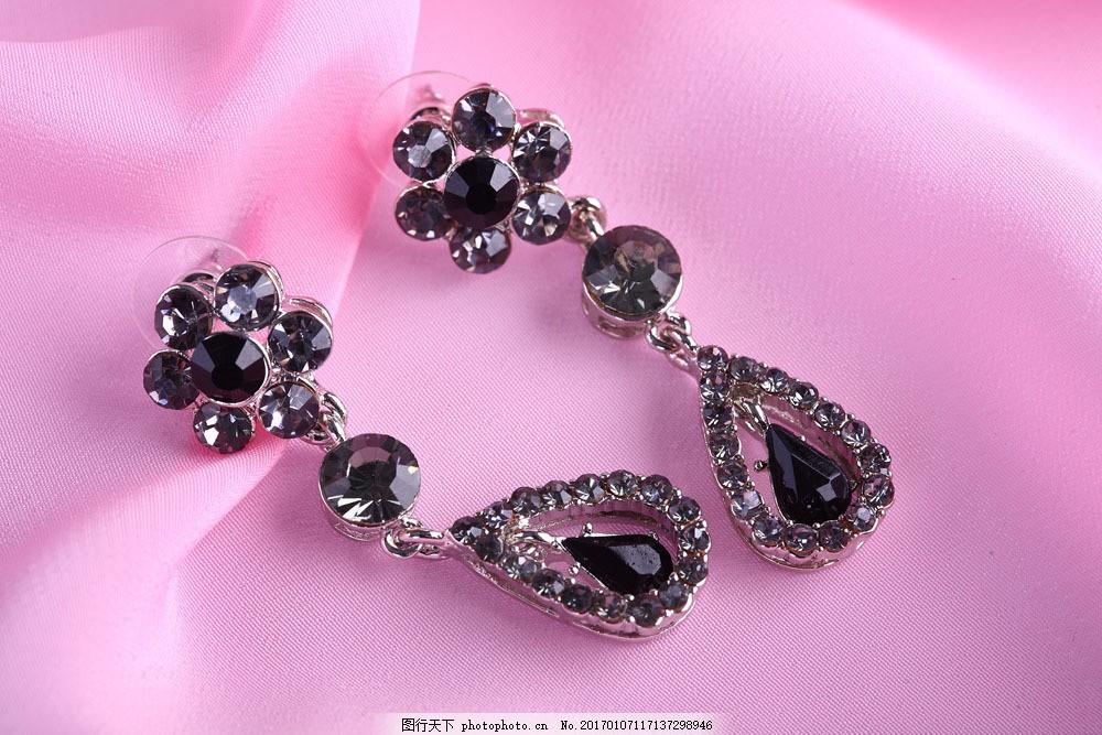 黑钻石项链图片素材 钻石耳坠 宝石 珠宝首饰 奢华 名贵首饰 女性首饰