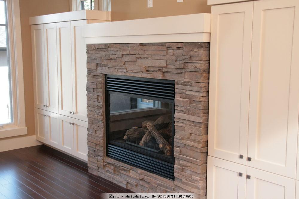 砖墙壁炉柜子效果图 砖墙壁炉柜子效果图图片素材 欧式家具 现代室内