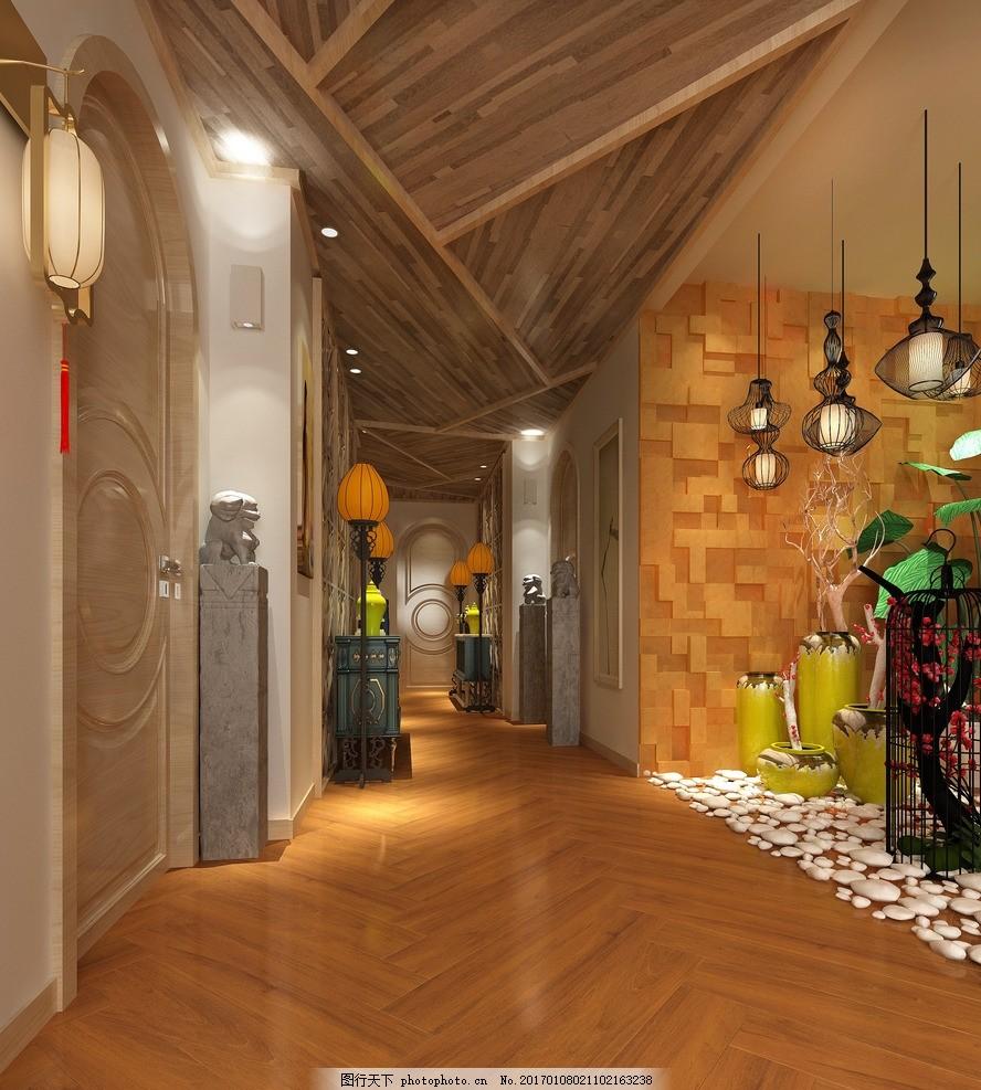 木纹砖效果图 木纹空间图 室内效果 陶瓷铺贴图