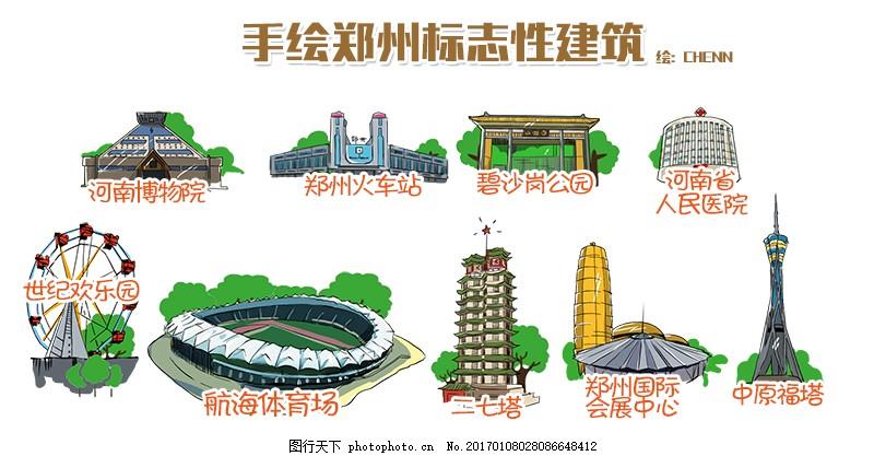 手绘郑州标志性建筑