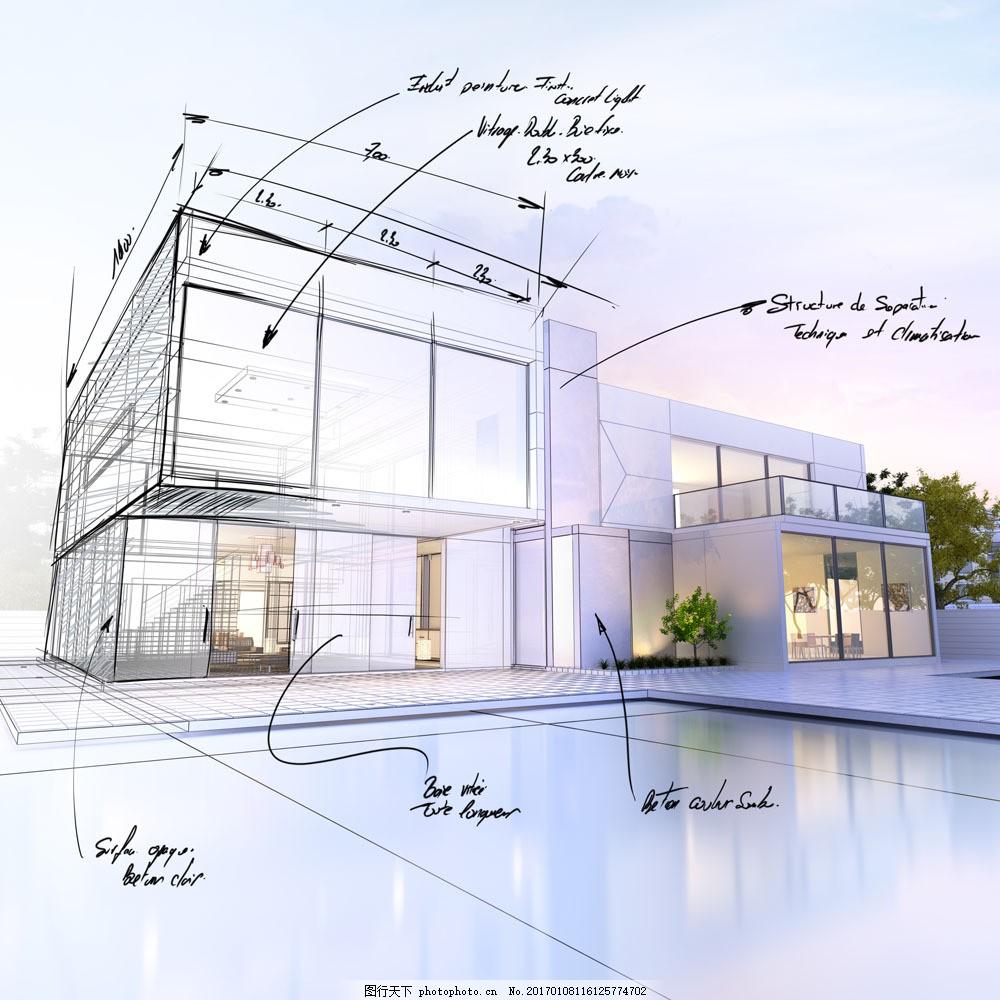 别墅设计效果图 别墅设计效果图图片素材 别墅房屋 设计草图 别墅草案