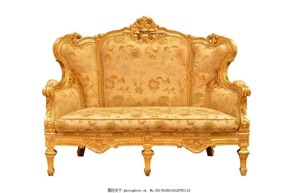 黄色沙发 黄色沙发图片素材 欧式沙发 沙发椅子 复古沙发 复古家具