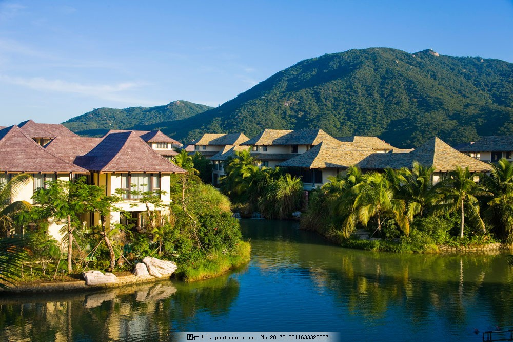 风景别墅图片 风景别墅图片图片素材 天空 蓝天白云 度假 美景