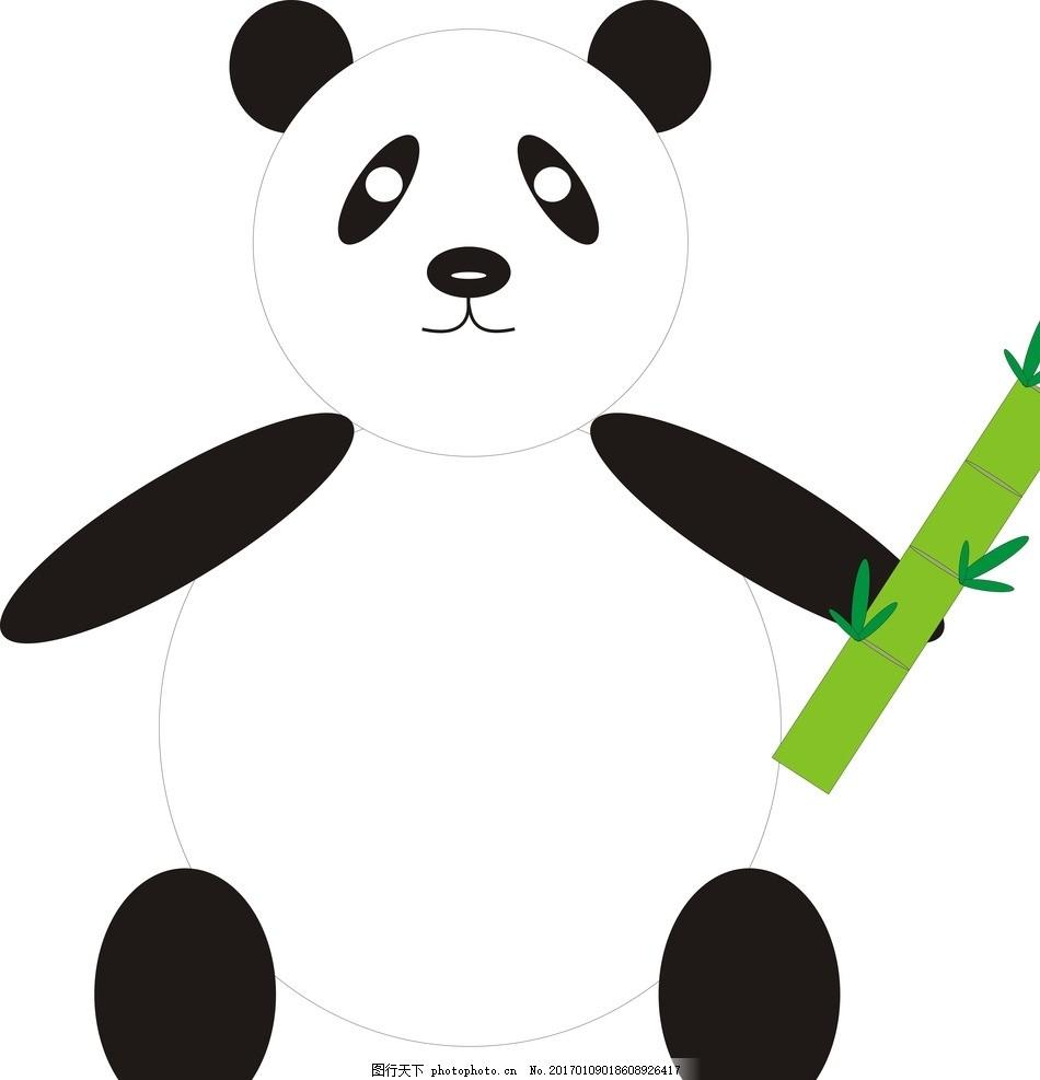 动物 竹子 儿童画 矢量图 cdr      简笔画 中国风 设计 动漫动画