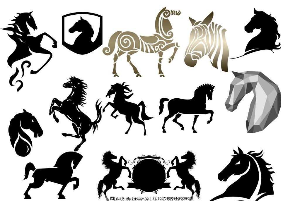 马年剪影 马年 剪影 大马 小马 马头 设计 生物世界 野生动物 300dpi