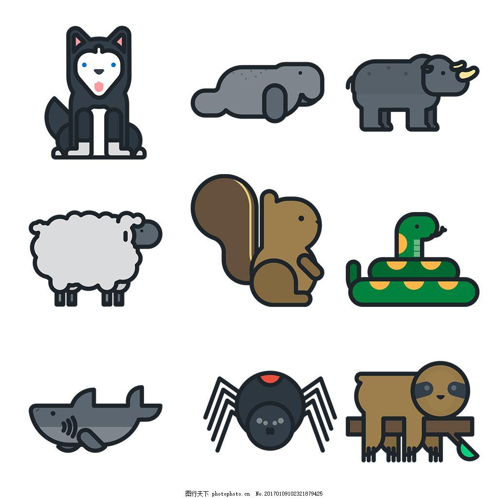 可爱手绘动物icon图标