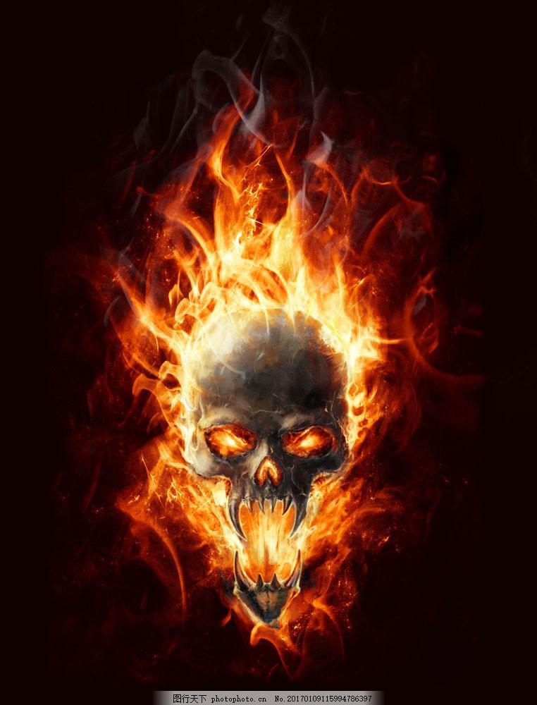 火焰骷髅图案 火焰骷髅图案图片素材 火苗 骷髅插画 卡通漫画 漫画