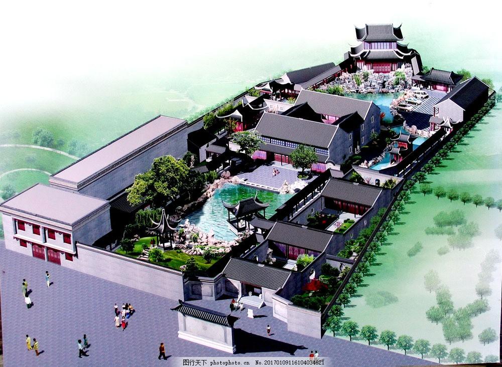 中国古典园林 鸟瞰图 园林景观 园艺设计 房地产设计 建筑设计3d效果