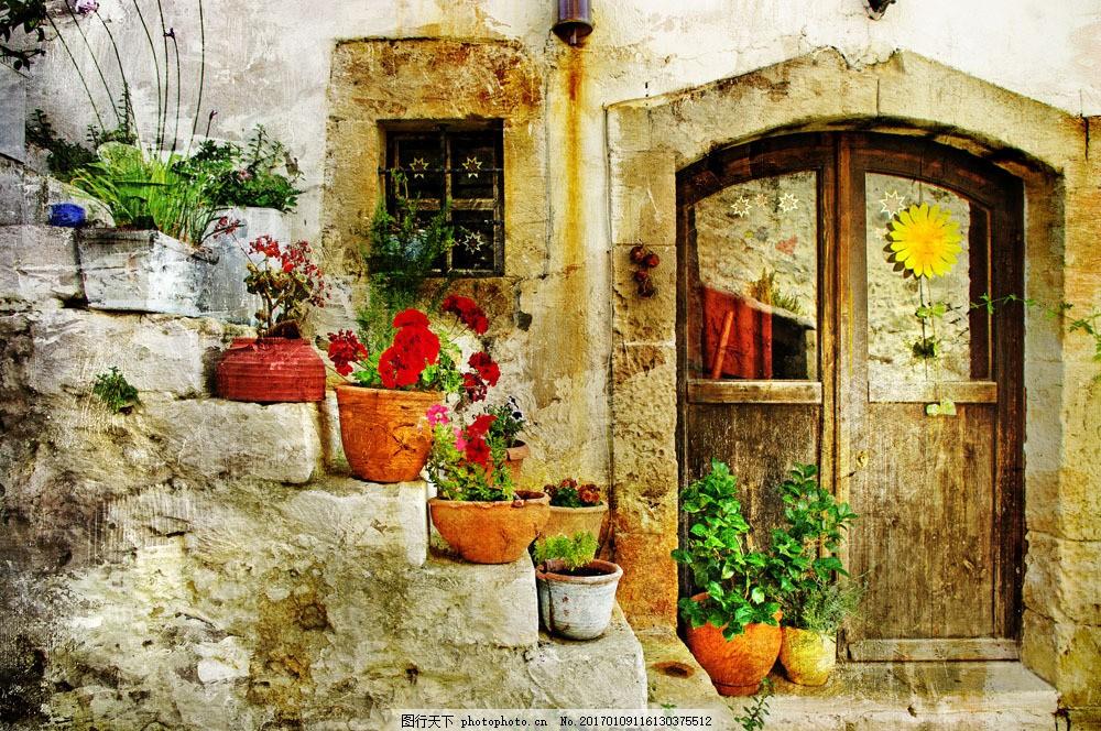 花园风景油画图片素材 风景油画 绘画艺术 鲜花 花朵 花园 花盆 园林