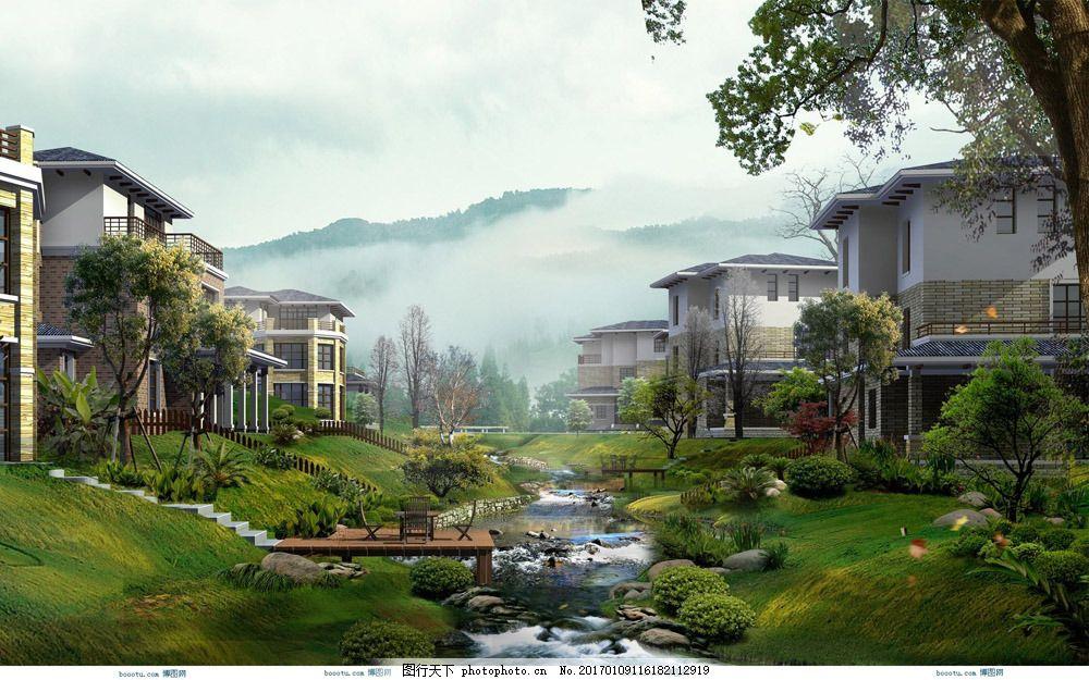 别墅群环艺设计效果图图片