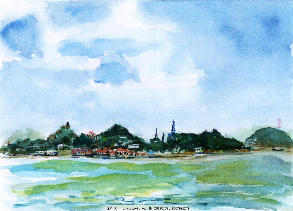 海边沙滩水彩画图片