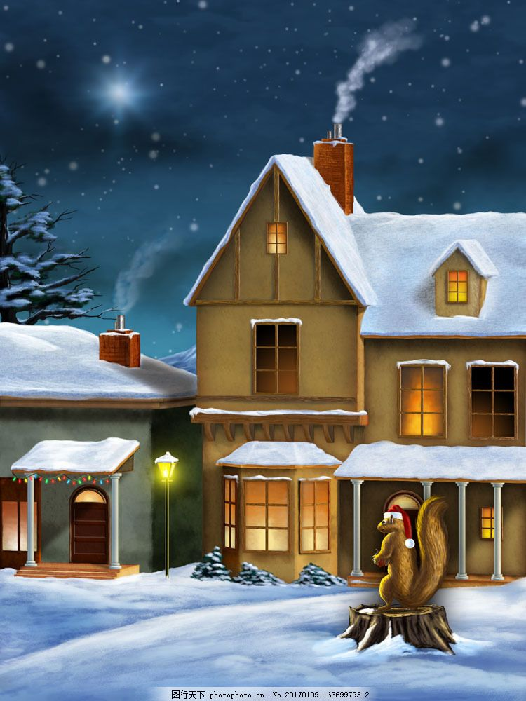 雪地 房屋 建筑 松树 动物 雪景 雪地 油画 雪景图片 风景图片 图片
