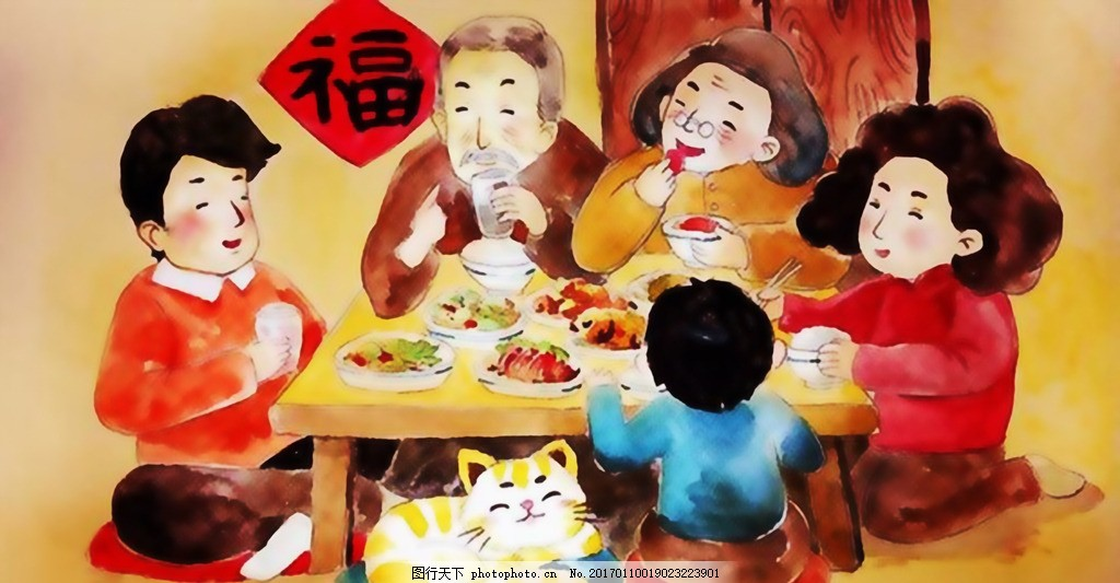 年夜饭手绘 团圆 过年 春节 新年 过大年 团圆饭 绘画 艺术绘画