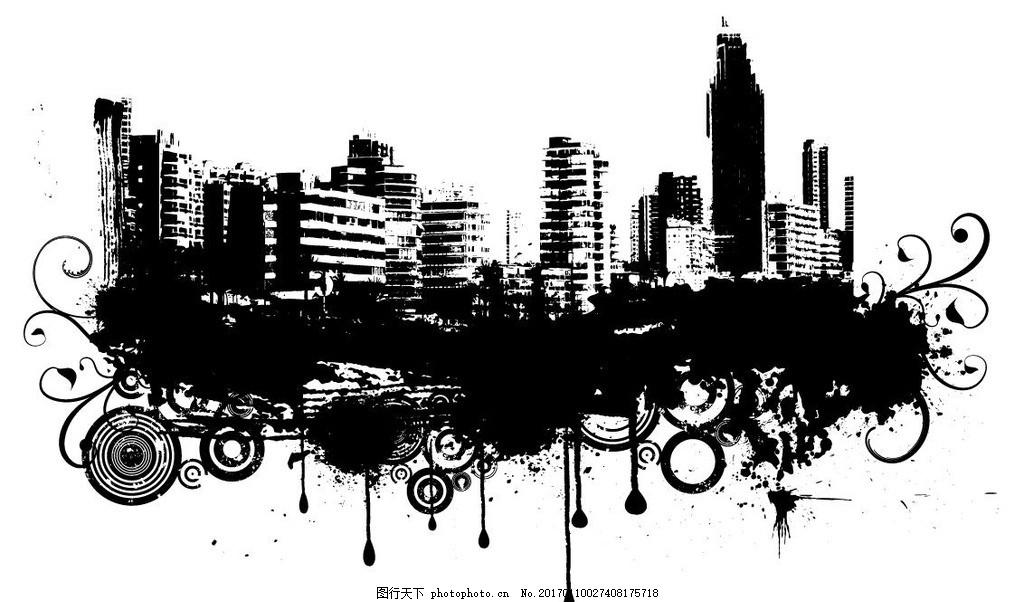 城市建筑插画 素描 欧洲建筑 城市风景 手绘 时尚 潮流 矢量素材