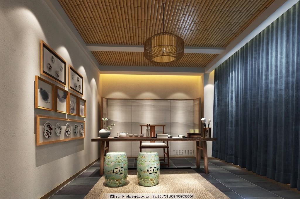 剑麻地毯 照片墙 竹子吊顶 蓝色麻布窗帘 山水屏风 米格空间设计样板