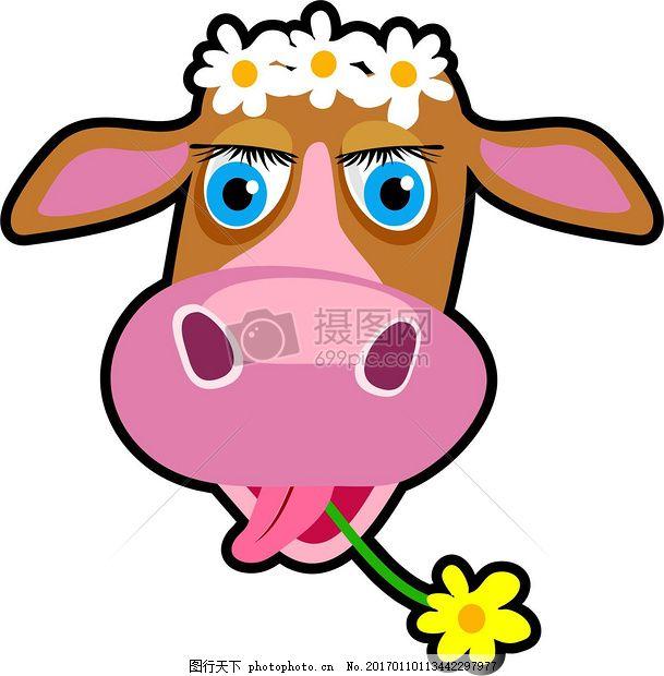 插画中的牛头 动物 耳朵 嘴巴 鼻子 花朵 红色