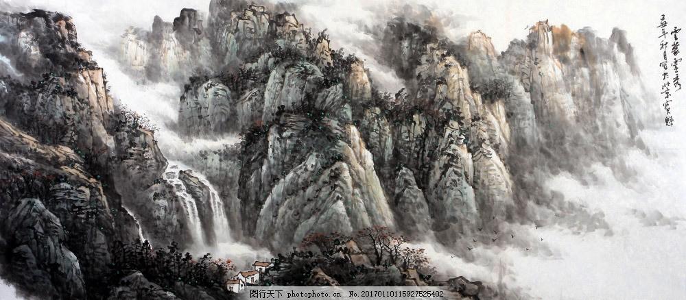 山峰风景国画 山峰风景国画图片素材 水墨画 名画 水墨花卉植物