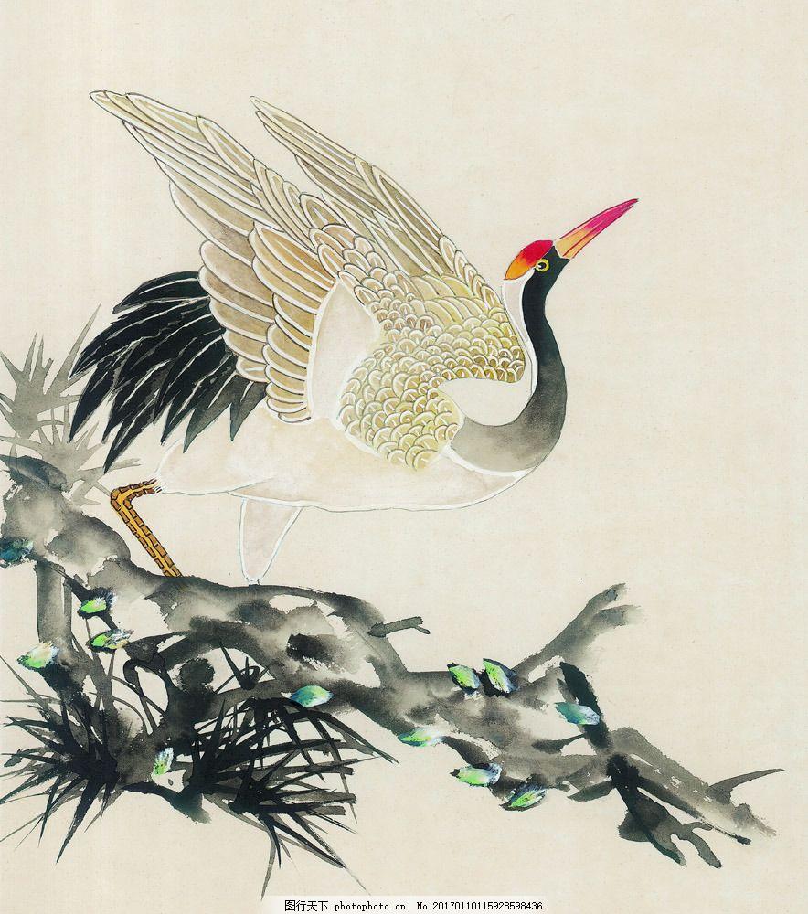 树枝上的白鹤图片素材 国画 油画 装饰画 无框画 手绘 素描 插画 抽象