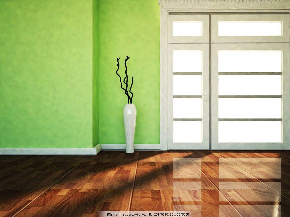 绿色环保室内设计图片素材 环保 窗户 地板 绿色 绿色墙壁 室内设计