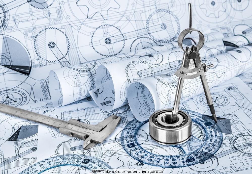 技术图纸与工具 技术图纸与工具图片素材 圆规 卡尺 零件 设计图
