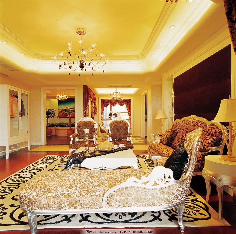 欧式金色客厅效果图 欧式金色客厅效果图图片素材 沙发 茶几 豪华水晶