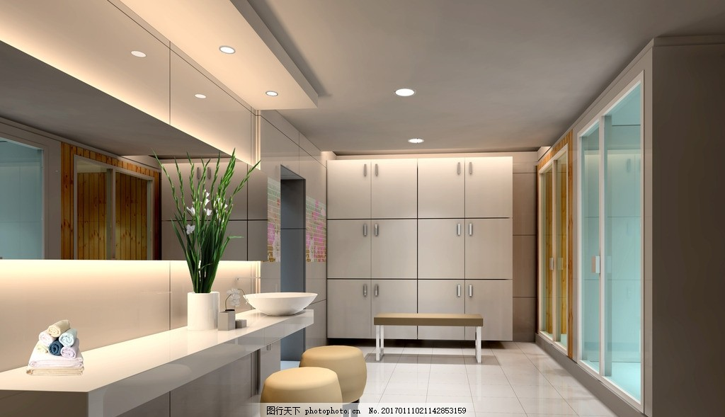 卫生间效果图 工装卫生间 美容院 现代风格 休闲会所        3d设计