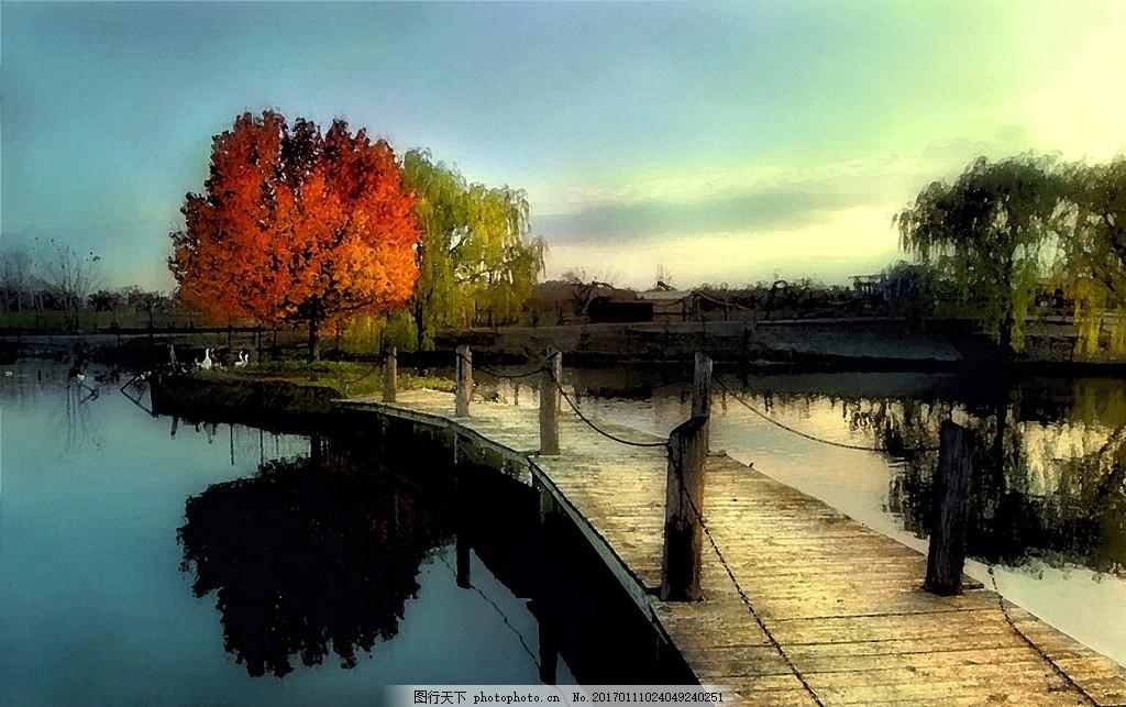 小桥流水,高清大图 数字油画 抽象 乡村风景 河边-图