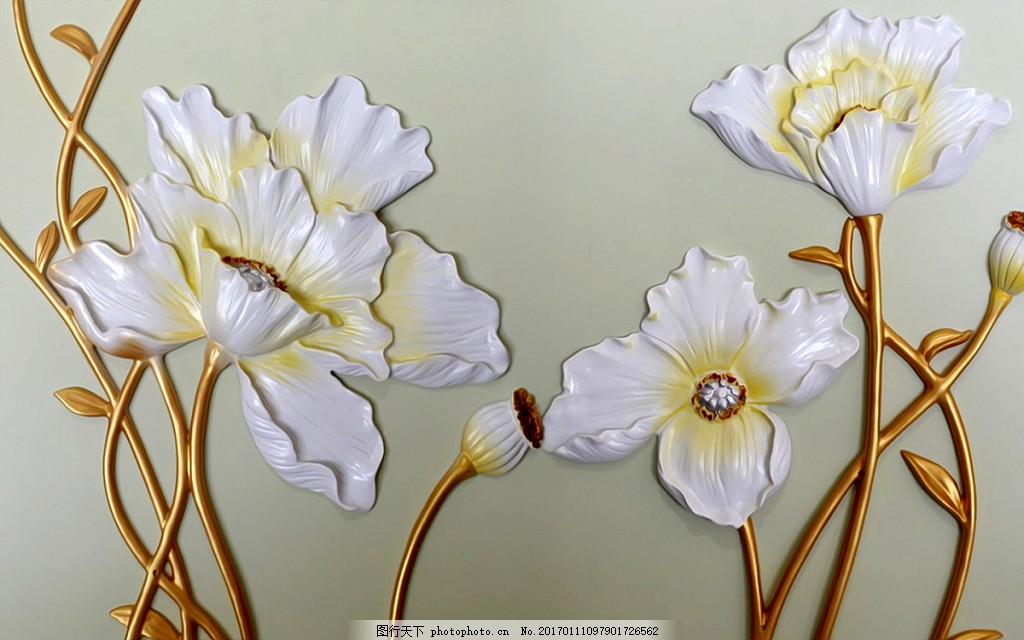 立体花卉背景墙 壁纸 风景 高分辨率图片 高清大图 建筑 装饰